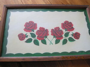 Very Old Wood Frame & Glass Serving Tray with 6 Red Roses