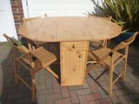 Pine Space Saving Table & 4 Chairs