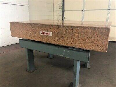Starrett 30 X 60 Pink Granite Surface Plate On Steel Stand Id I-045