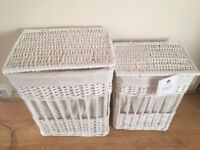 White Willow Lined Laundry Baskets/Bin set of 2.