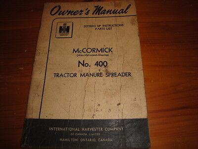 Mccormick 400 Manure Spreader Set Up Instructions Parts List