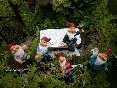 Garden Gnome Dwarf Figurine on pick set/ ...