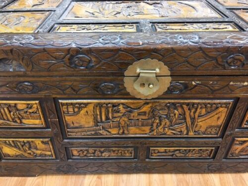 Vintage Oriental Chinese Camphor Wood Hand Carved Box Trunk Hope Chest Table