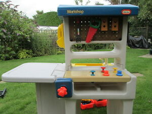 Little Tikes Work Bench And Play Sink Plus Plastic Toy Tools Drill Circular Saw Ebay