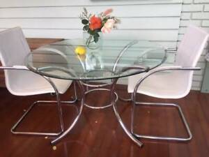 Mid Century Italian Chrome and Glass Round Dining Table