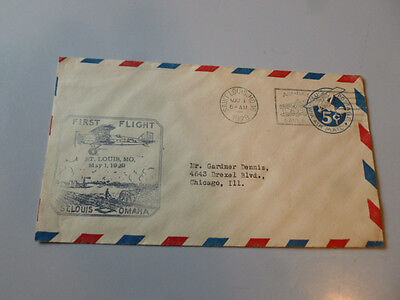First flight Cover St Louis Omaha Air Mail Stamp Stamped Airplane May 21 1929