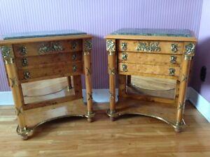 paire tables de chevets,vintage, empire, marbre