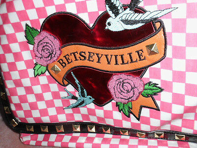 VTG RARE Betsey Johnson  Bluebird Checked Heart Rose Bag, laminated  ⚘GORGEOUS