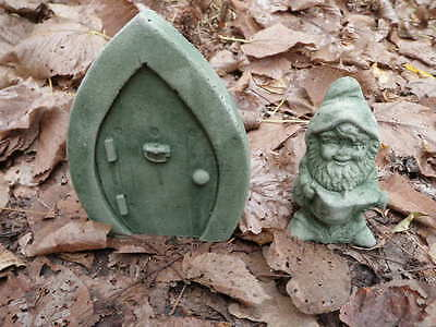 "Cement 7"" Gnome Door & 5"" Elf Gnome Set Garden Art Statue Green Concrete Nice"