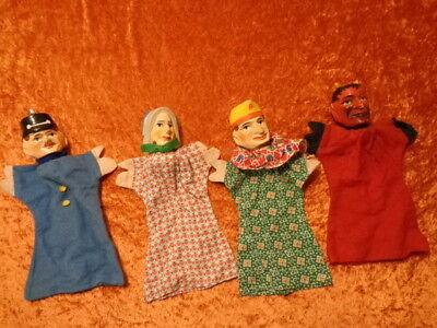 4 x alte Figur / Puppe für Kasperletheater mit geschnitzten Holz Köpfen