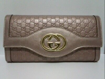 Auth GUCCI Micro Guccissima/Double G 282431 Pink Leather Long Wallet