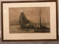 Etching of Rotterdam port by Dutch artist Jan Sirks (1885-1938) signed painting - great gift