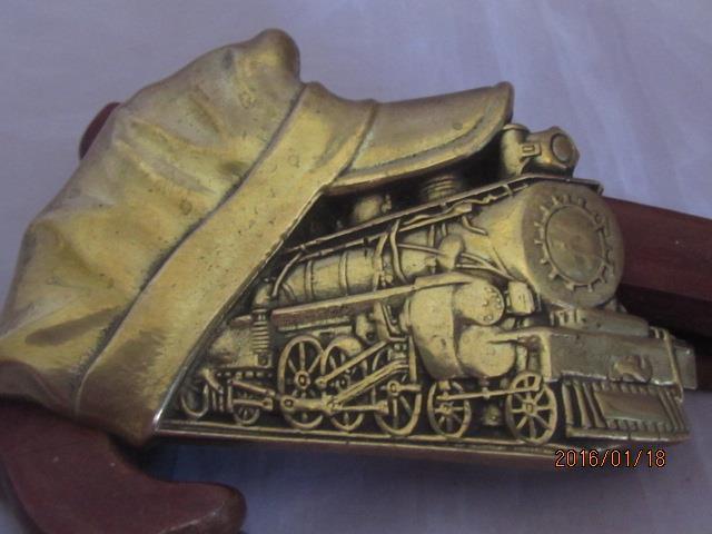 Train Engineer Conductor Hat 1982 Baron Brass Belt Buckle