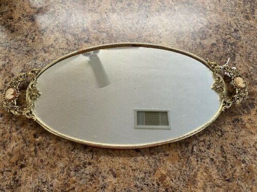 Old Early Vintage Cameo Metal Vanity Dresser Tray Mirror