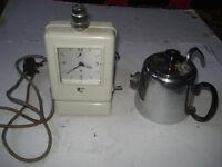 Rare mid century Hawkins TECAL Teasmade tea making alarm clock with lamp 1950's likely 1952.