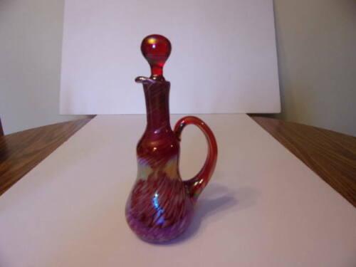 JENNINGS GLASS IRIDIZED RED SWIRL CRUET MARKED
