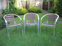 Cafe/Bistro Style Aluminium Chairs With Teak Effect
