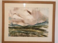 Rannoch Moor Painting by Fife Artist using Mixed Media, Oak framed with non-reflective glass