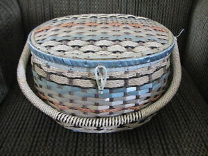 Blue & White Oval Shaped Sewing Basket