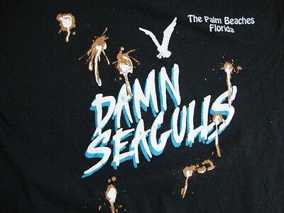 "Vintage ""Damn Seagulls"" Bird Poop Palm Beaches Florida Black Men's T- Shirt L"