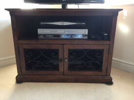 Solid dark wood TV unit