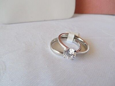 Size 8.75  CZ Solitaire and Stainless Steel Engagement & Wedding Ring Set on Rummage