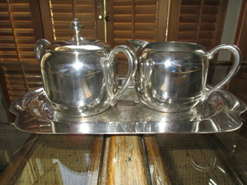 Downton Abbey Style Vintage Keystone Creamer, Sugar Bowl, and Tray Set