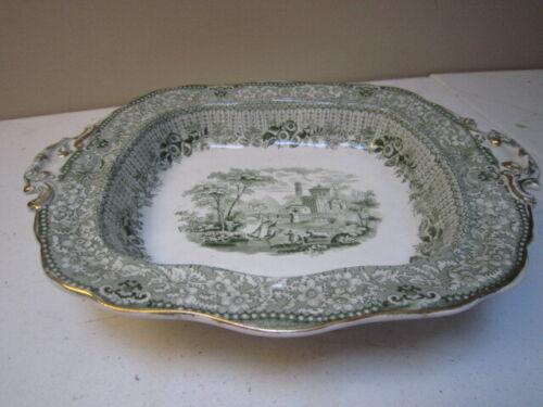 Antique Green Transferware Ridgeway Grecian Pattern Vegetable Bowl