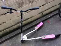 GIRLS FLICKER SCOOTER PINK, BLACK & WHITE CAN BE FOLDED