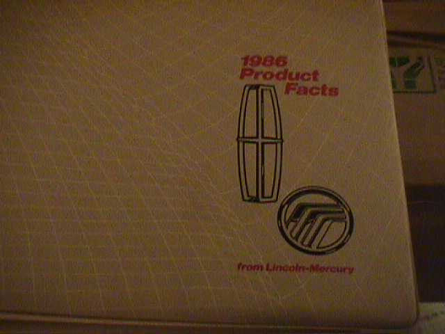 SCARCE 1986 MERCURY AND LINCOLN  PRODUCT FACTS BINDER