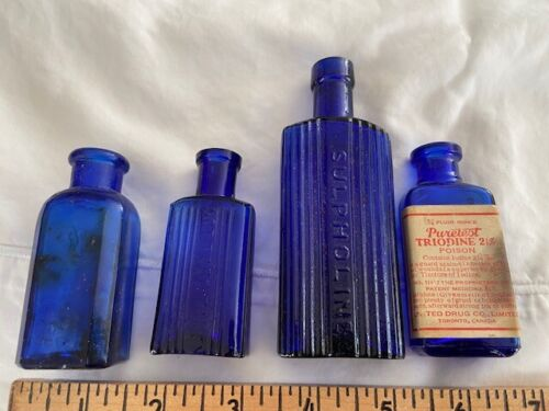 c1900 Cobalt blue poison bottle collection Triodine Sulpholine Toronto labeled