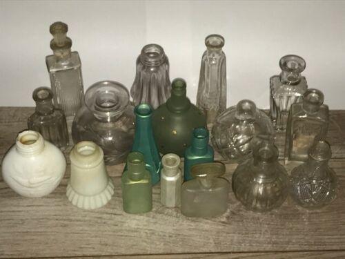 Vtg Antique Medicine Apothecary Perfume Glass Bottle Lot of 17 Milk Glass Bird