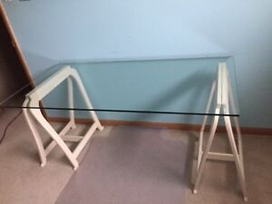 Clear Glass Desk Table Top + Desk Mounts