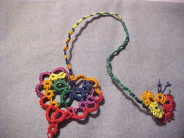 8 Tatted Bookmark Heart Butterfly Cord Rainbow  Lace New Tatting by Dove Country