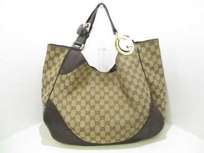 Auth GUCCI GG 203504 Beige DarkBrown Jacquard & Leather Shoulder Bag