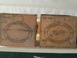 Two antique butter boxes