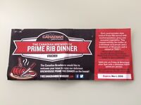 Canadian Brewhouse Prime Rib Dinner Gift Certificate ($100.00)