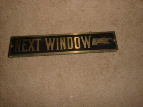 "1 ANTIQUE Right EMBOS HAND Point BANK TELLER "" NEXT WINDOW "" SIGN BRASS  OAK ?"