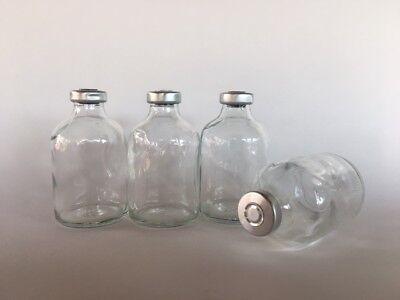 10 Sealed Sterile 50ml Glass Vials Flip Top Seals