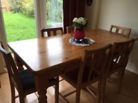 "Pine dining table 2'6"" x 4' 6"" and 6 beechwood chairs"