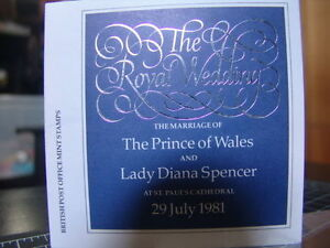 Royal Wedding Prince of Wales Diana 1981 Post Office Mint Stamps