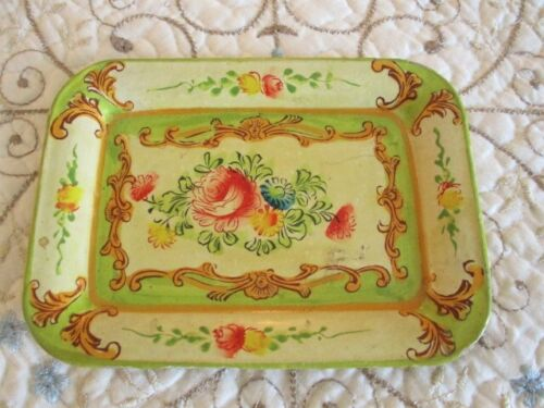 Cute Vintage Hand Painted Floral Pale Green Tole Paper Mache Dresser Pin Tray