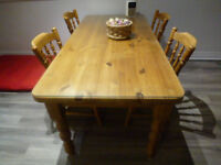 "PINE DINING TABLE AND 6 CHAIRS 6' X 2'9"" WITH GLASS TOP"