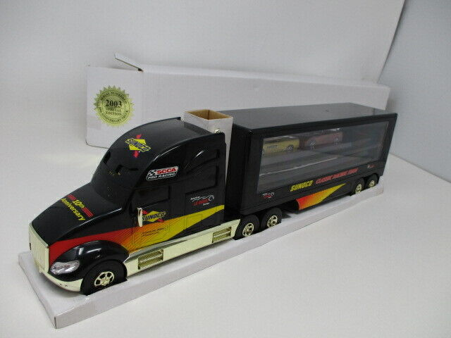 Sunoco 2003 Car Carrier Toy Truck w 2 Corvette Toy Cars