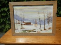 Watercolour painting - wintertime scene