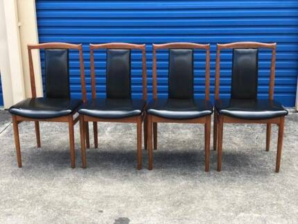 FREE DELIVERY Retro Burgess Dining Chairs solid teak scandi x4