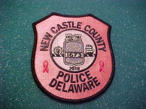 NEW CASTLE COUNTY DELAWARE CANCER PINK POLICE PATCH SHOULDER SIZE UNUSED