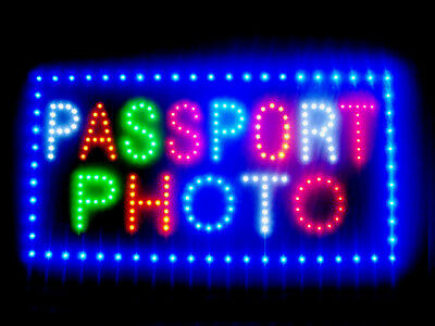 "60039 Passport Photo Shop 1hr Open LED Sign 24"" x 12"""