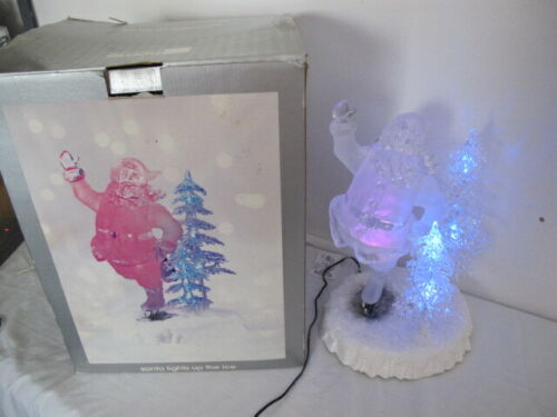 ACRYLIC LIGHTED FIGURINE SANTA LIGHTS UP THE ICE SKATES JCPENNY HOME COLLECTION