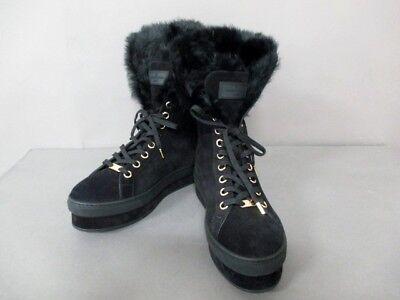 Auth LOUIS VUITTON Black Suede Fur CL0154 Boots Women